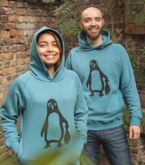 Pinguin Paul - Fair gehandelter Unisex Hoodie - Blau