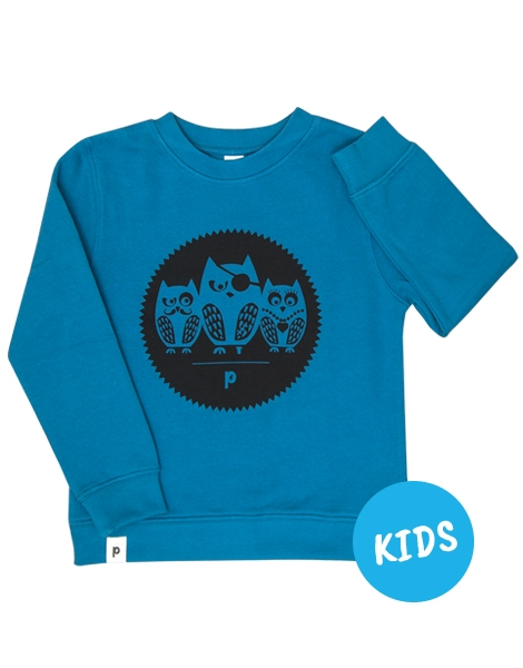 Die Eulen 3er Gang - Kinder Bio Sweater - Organic Cotton - Blau
