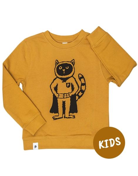 Karlo Superhelden Kater - Kinder Bio Sweater - Organic Cotton - Gelb