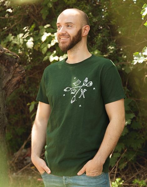 Schere, Stein, Papier - Fair gehandeltes Männer T-Shirt - Slub Darkgreen
