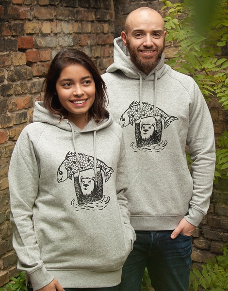 Björn Bär und Fido Fisch - Unisex Fair Wear Hoodie - Heather Grey