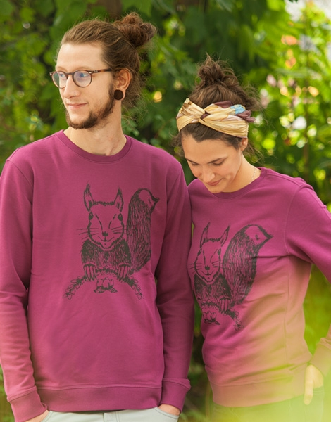 Ella Eichhorn / Squirrel - Fair Wear Unisex Sweater - Lila/Purple