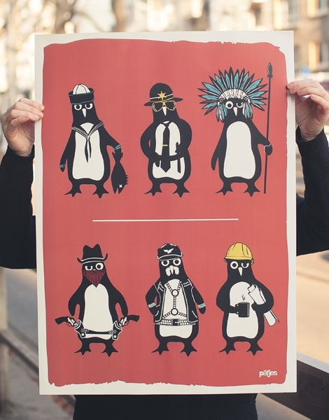 YMCA Pinguine - Poster 50x70 cm - Coral