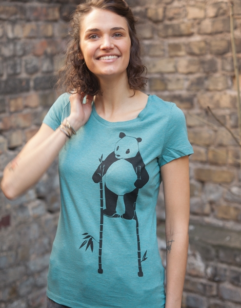 Pow Panda- Fair Wear Frauen T-Shirt - Heather Eukalyptus