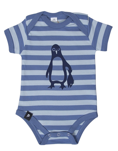 Baby Body - Pinguin Paul - Blau Stripes