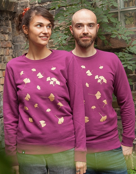 Ginkgo - Ginkgoblätter Gold - Fair Wear Unisex Sweater - Lila/Purple
