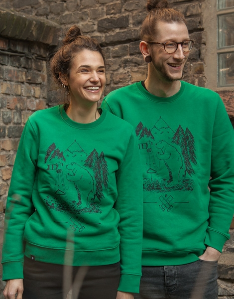 Bär Bärnd Blitzbert - Fair Wear Unisex Sweater - Green