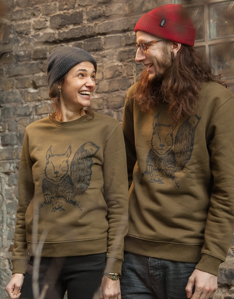 Ella Eichhorn / Squirrel - Fair Wear Unisex Sweater - Olive / Khaki