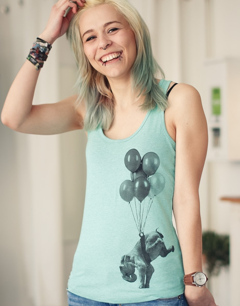Elena Elefant - Fair Wear Top - Heather Mint
