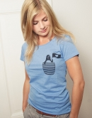 Pinguin Paul mit Fahne - Fair Wear Frauen T-Shirt - Mid Heather Blue