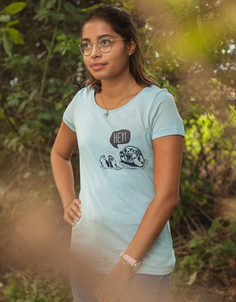 Preview: Hey Oskar Otter Brust - Fair Wear Frauen T-Shirt - Skyeblue