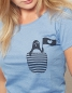 Preview: Pinguin Paul mit Fahne - Fair Wear Frauen T-Shirt - Mid Heather Blue