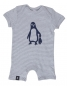 Preview: Baby Striped Playsuit - Pinguin Paul - Grey Stripes