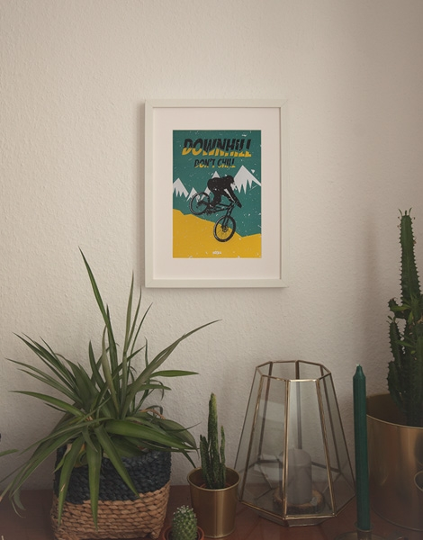 Downhill don't chill - Poster A4 - Petrol/Yellow