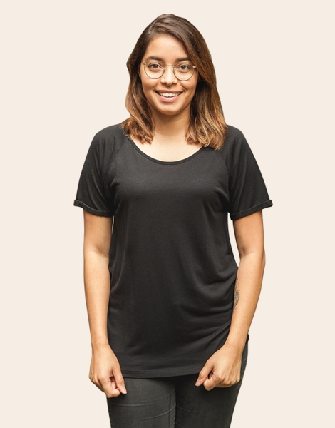 Basic Modal - Fair gehandeltes, Rolled Sleeve Frauen T-Shirt - Black