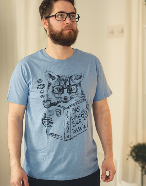 Willi Waschbär - Fair Wear T-Shirt - Heather Mid Blue