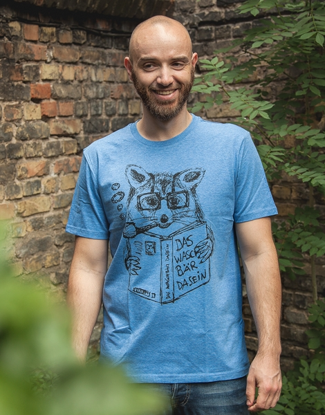 Willi Waschbär - Fair Wear Männer T-Shirt - Heather Mid Blue