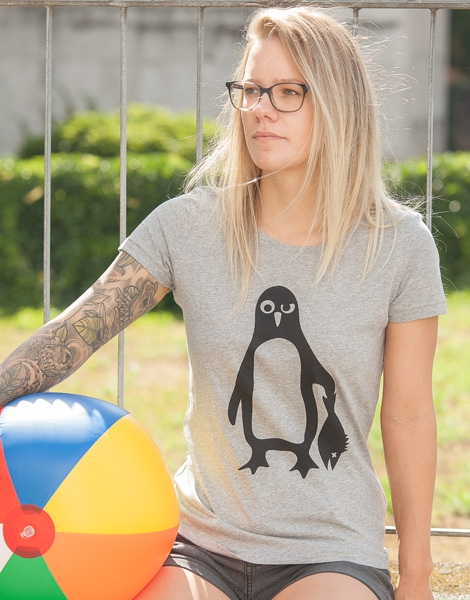 Pinguin Paul - Fair Wear Frauen T-Shirt - Heather Grey