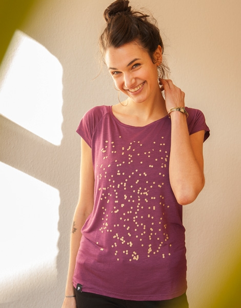 Konfetti V2 - Fair gehandeltes Tencel Frauen T-Shirt - PurpleBerry
