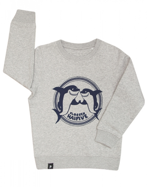 Hai / Flossen Haifive - Fair Wear Kinder Sweater - Grau/Blau