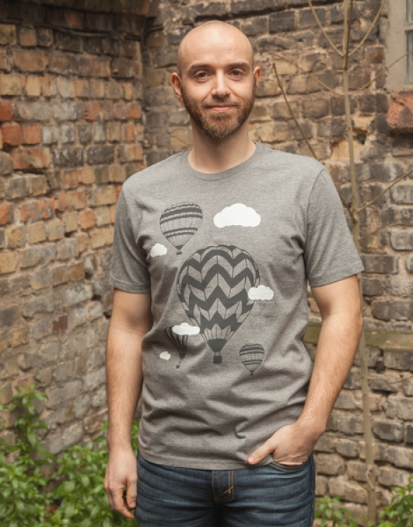 päfjes - Heißluftballons & Wolken - Fair Wear Männer T-Shirt - Dark Heather Grey