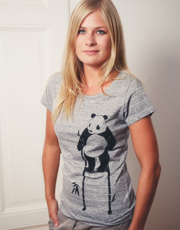 Pow Panda - Fair Wear Frauen T-Shirt - Slub Heather Grey
