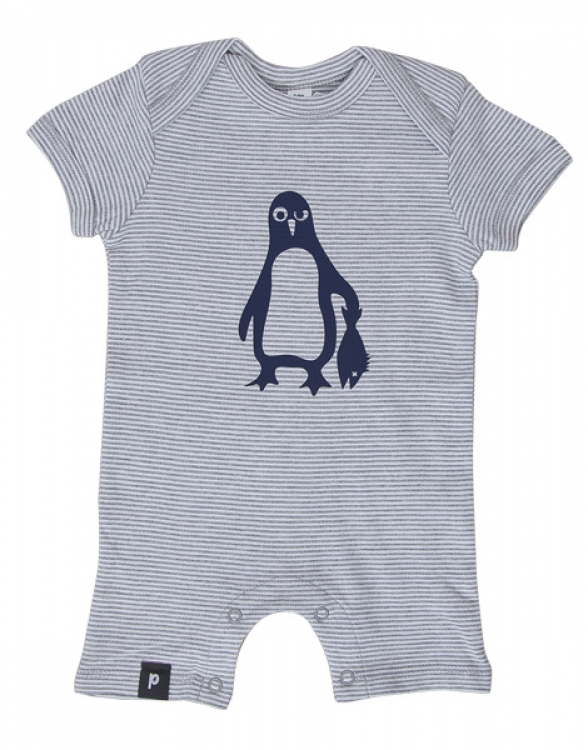 Baby Striped Playsuit - Pinguin Paul - Grey Stripes